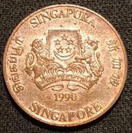 SINGAPOUR - SINGAPORE - 1 CENT 1990 - KM 49 - ( Blason Haut ) - Singapore