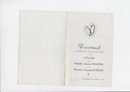 Menu - Feestmaal Huwelijk / Mariage - Jeanne Knaepen / Leopold Cleeren - Rapertingen - 1956 - Menus