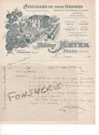 Lettre Signée R. MEYER Aiguilles Matériels Pour Textile Poinçons Rivet Bonneterie 90 Delle Succursale à Boncourt Suisse - 1900 – 1949