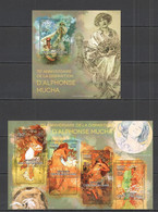 CA530 2014 CENTRAL AFRICA CENTRAFRICAINE ART GREAT PAINTER ANNIVERSARY ALPHONSO MUCHA KB+BL MNH - Other