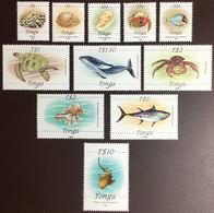 Tonga 1988-92 Redrawn Marine Life Definitives 11 Values To $10 Sharks Whales Turtles Shells MNH - Meereswelt