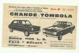 BILLET De TOMBOLA AUTO SIMCA 1100 FORD ESCORT OEUVRES LAIQUES DU MORBIHAN LORIENT 56 JUIN 1968 LOTERIE - Lottery Tickets