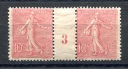 RC 20023 FRANCE COTE 33€ N° 129 SEMEUSE 10c ROSE MILLÉSIME 3 NEUF * MH ( VOIR DESCRIPTION ) - Millésimes
