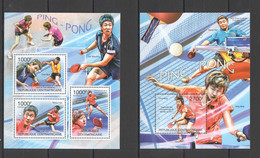 CA1007 2011 CENTRAL AFRICA CENTRAFRICAINE SPORT PING PONG TABLE TENNIS 1KB+1BL MNH - Tennis Tavolo