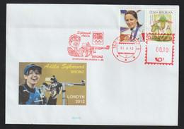 Czech Republika Cover 2012 London Olympic Games - Czech Bronze Adéla Sýkorová, Shooting - Personalized Stamp - Eté 2012: Londres
