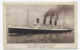 (RECTO / VERSO) PAQUEBOT FRANCE EN 1929 - BEAU CACHET - LEGER PLI ANGLE BAS A DROITE - CPA - 75 - Paquebote