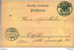 LEIPZIG AUSSTELLUNGS-PLATZ 1897, Sonderstempel Auf Germania-Ganzsache - Machine Stamps (ATM)