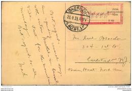 "1923, Postkarte Ab DRESDEN ALTST. 1  28.8.23 Nach USA ""Taxe Percue"" - Covers"
