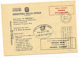 1978 NAVE VESPUCCI SCALO TECNICO PALERMO CROCIERA ECOLOGICA GENOVA CIVITAVECCHIA - 1971-80: Storia Postale