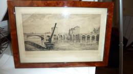 POISSY - Eau Forte Originale De 1875 D'Emile DUMONT - Le Vieux Pont - - Historical Documents