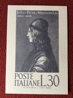 """Cartolina """"500.mo Anniversario Della Morte Di Pico Della Mirandola 1494-1994"""" Annullo Mirandola (MO) 05-10-1994 - Stamps (pictures)"""