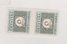 CROATIA WW II Postage Due 6 Kn Horizontal Imperforated Pair No Gum - Kroatië