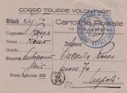 1939 UFFICIO POSTALE SPECIALE 11 (8.5.39) Su Cartolina Franchigia CORPO TRUPPE VOLONTARIE - Storia Postale