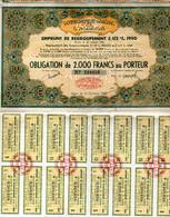 EMPRUNT - GOUVERNEMENT Général De L'ALGERIE . Obligation De 2000 Francs .... - Zonder Classificatie