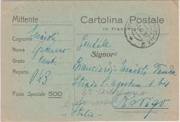 1937 Cartolina Franchigia Per SPAGNA Nero Su Verde Viaggiata - Storia Postale
