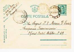 Roumanie, De Bucarest  Gare Du Nord Ambulante  , Poste Militaire N°69   En 1940  Sur Entier Postal TB - 2. Weltkrieg (Briefe)