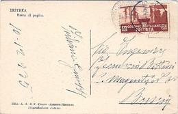 1935-Eritrea Cartolina Barca Di Papiro Diretta In Italia Affrancata 15c.Soggetti Africani Cat.Sassone Euro 40 - Non Classificati