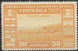 COSTA RICA 1956 - Air. Central American And Caribbean Football Championship - 30c - Football Match MH - Costa Rica