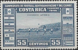 COSTA RICA 1956 - Air. Central American And Caribbean Football Championship - 55c - Football Match MH - Costa Rica
