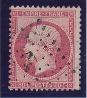 80 C Rose N° 24 Obl Ancre Noire TB. - 1862 Napoleon III