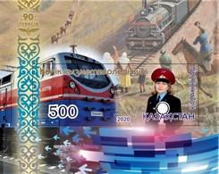 Kazakhstan  2020  Trains, Locomotives  Railway Worker Day  S/S  MNH - Trains