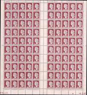 FRANCE Poste ** - 1263a, Effigie Rose, Feuille Complète De 100, Cd 6/2/62: 0.25 Decaris - Cote: 2000 - Unused Stamps