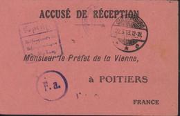 Guerre 14 Accusé Réception Colis Préfet De La Vienne à Poitiers Camp De Quedlinburg Harz CAD 22 3 18 Censure Camp FM - Oorlog 1914-18