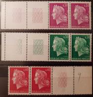 France Stamp 1967-69 N°1536 +n°1536A =n°1536B 3 Paires BdF En TD3 **  TB - Ungebraucht