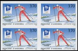 ANDORRE Poste ** - 441a, Bloc De 4 Non Dentelés: Jeux Olympiques De Lillehammer 1994, Ski - Cote: 200 - Non Classificati