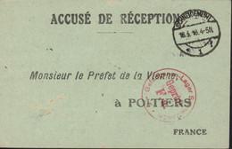 Guerre 14 Accusé Réception Colis Préfet De La Vienne à Poitiers CAD + Censure Camp Schneidemühl 18 3 18 FM Prisonnier - Oorlog 1914-18