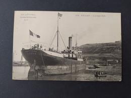 Le Bateau Baltique Rouen à L'Avant Port De Fécamp (Cargo) / Timbre Et Cachet 1905 - Koopvaardij