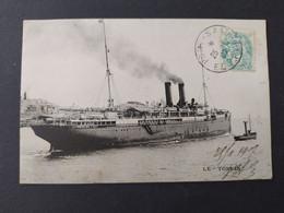 Paquebot TONKIN – Messageries Maritimes / Timbre Et Cachet 1907 - Paquebots
