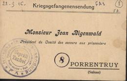 Guerre 14 Accusé De Réception Colis Camp Friedrichsfeld 3 10 16 FM Pour Prisonnier Comité Secours Prisonniers Porrentruy - Oorlog 1914-18