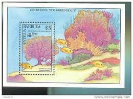 ANTIGUA & BAR  1283 MINT NEVER HINGED SOUVENIR SHEET OF  DISCOWERY OF AMERICA ; FISH-MARINE LIFE ; CORALS - Fishes
