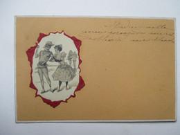 COUPLE   DANS  MEDAILLON   GAUFFRE            TTB - 1900-1949