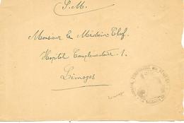 87-cachet Hôpital Temp. Des Vénitiens (N°143 Bis) à Limoges Sur Devant De Lettre En 14/18 - 1. Weltkrieg 1914-1918