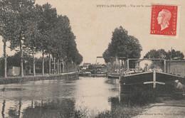 CPA:VITRY LE FRANÇOIS (51) PÉNICHE CANAL..ÉCRITE - Vitry-le-François