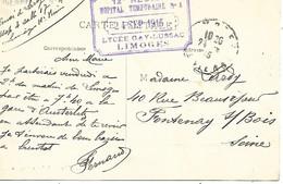 87-cachet Hôpital Temp. N°4 -Lycée Gay-Lussac à Limoges Sur CP En 1915 - 1. Weltkrieg 1914-1918