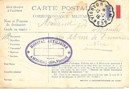 87-cachet Hôpital Aux à. Ambazac (N°6 Bis) Sur CP Militaire En 1915-cachet Rare - 1. Weltkrieg 1914-1918