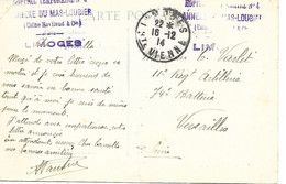 87-cachet Hôpital Temp. N°4 - Annexe Du Mas-Loubier (usine Haviland)  à Limoges Sur CP De L'Armée Anglaise En 1914 - 1. Weltkrieg 1914-1918