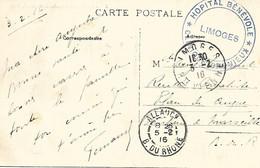 87-cachet Hôpital Bénévole Clinique Chenieux- (HB N°147 Bis) à Limoges Sur CP En 1916-cachet Répété Au Verso-cachet Rare - 1. Weltkrieg 1914-1918