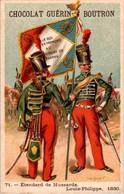 Chromo Ch. Guérin-Boutron Illus. Valiquet Flag Drapeau Etendard De Hussards Louis-Philippe 1830 Militaire Military N°71 - Guérin-Boutron