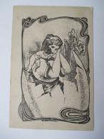 ANGELOT  ET  ET  JEUNE  FEMME  DANS  UN  OEUF    -  SURREALISME           TTB - 1900-1949
