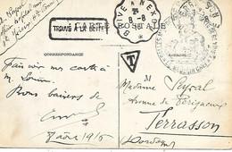 """87-cachet Salles Militaires De L'Hospice Mixte De St Yriex Sur CP En 1916+cachet """"trouvé à La Boîte""""+Brive à Nexo +T - 1. Weltkrieg 1914-1918"""