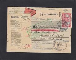 PAKETKARTE(NACHNAHME) AUS FRANKFURT/MAIN NACH RIEHEN, SCHWEIZ - Storia Postale
