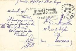 87-cachet Hôpital Temp N°4 à Limoges Sur CP En 1915 - 1. Weltkrieg 1914-1918
