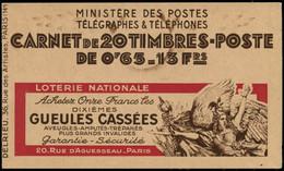 ALGERIE Carnets ** - Maury 20 (série 34), Carnet Complet 13f. (légère Adhérence Sur Bdf): 65c. Bleu Kasbah - Cote: 200 - Ohne Zuordnung