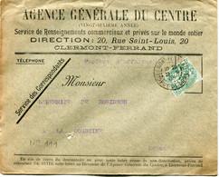 FRANCE ENVELOPPE AVEC REPIQUAGES PUBLICITAIRES RECTO/VERSO DEPART CLERMONT-FERRAND 23-12-03 PUY-DE-DOME POUR LA FRANCE - 1900-29 Blanc