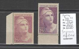 France - Yvert 731** - Marianne De Gandon - Impression Trés Défectueuse - 2 Piéces - Variedades: 1945-49 Nuevos