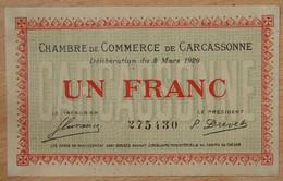 Carcassonne ( AUDE -11  ) 1 Franc Chambre De Commerce 2 Mars 1920 - Chambre De Commerce